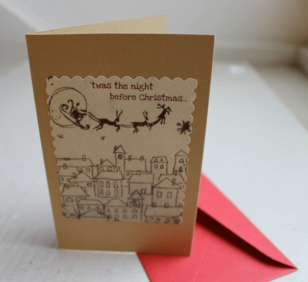 Twas The Night Before Christmas Intaglio print Christmas Card