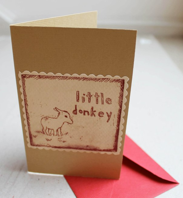 Little Donkey Intaglio print Christmas Card
