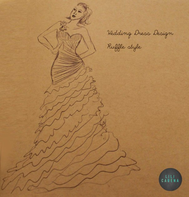 Wedding Dress1 Pencil sketch by Lili Cabena