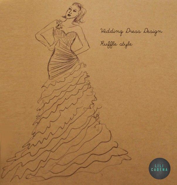 Wedding Dress1 Pencil sketch by Lili Cabena