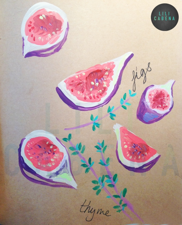 Figs Watercolour & Acrylic by Lili Cabena