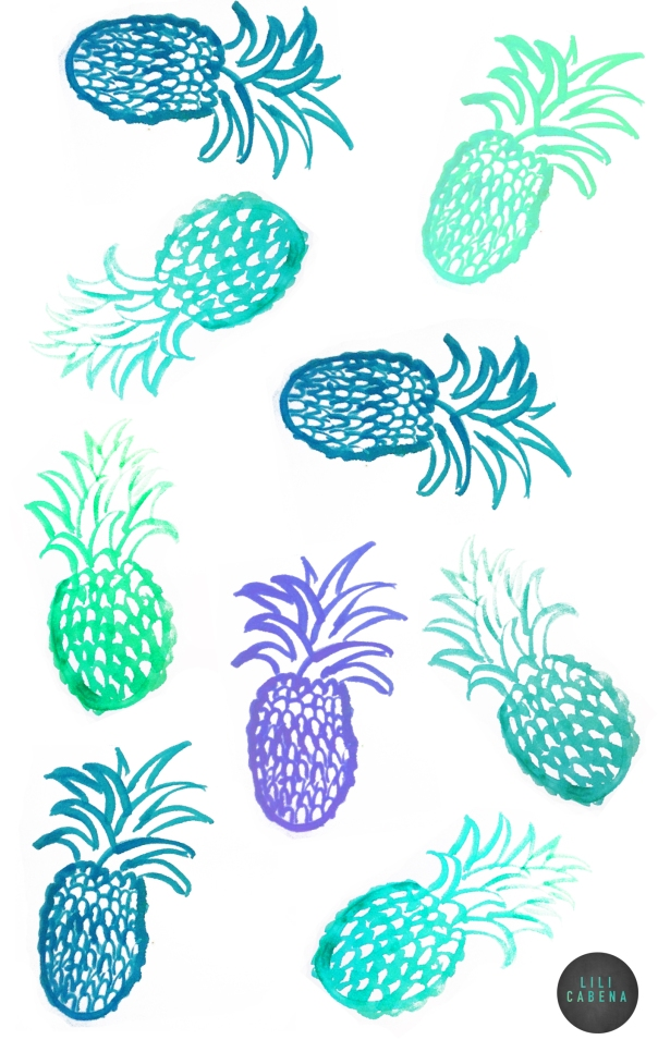 Pineapple by Lili Cabena Acrylic and Ink