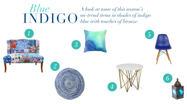 Lee predicts shades of blues and indigos with touches of bronze will be all the rage in 2015. Check out some examples here: 1.Morrocan pattern love seat @ Furniture Online 2.Blue denim braided rug @ Design Hunter 3.Cobalt watercolour blue cushion @ Lili Cabena 4.Side table @ Coco Republic 5.Indigo beverley chair @ Furniture Online 6. Blue Morrocan style light @ Furniture Online